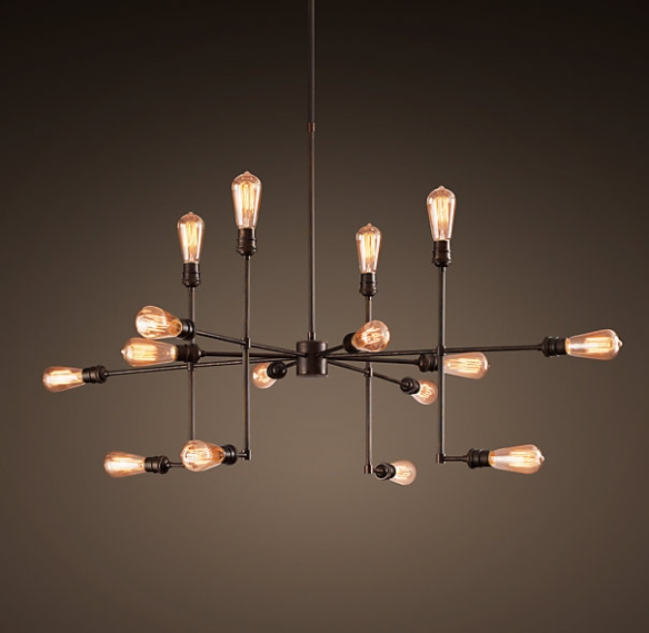 Awesome pipe fitting chandelier from Restoration Hardware.