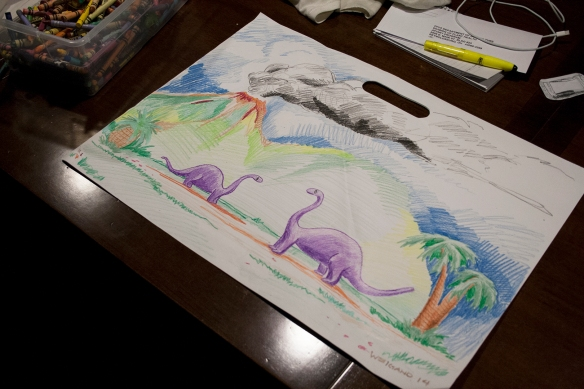 At night my kid and me color. I drew these dinosaurs on Tuesday.