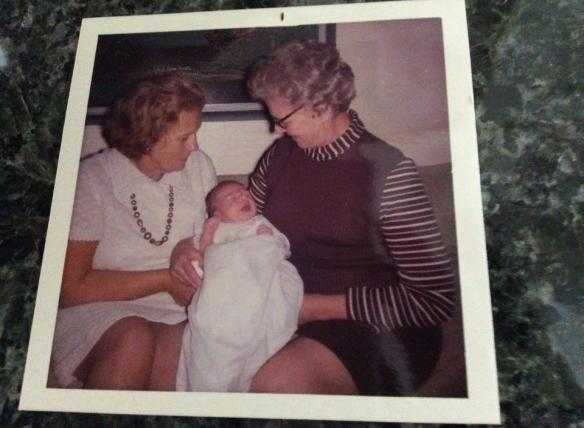 One of my first pictures with grandma (R) (actually both of my grandmas).