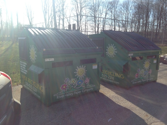 Green paper recycling containers