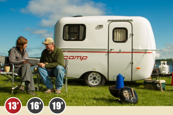 You can buy a brand new Scamp trailer with the same body style they've been making for decades. The inside is up to date. Image from the Scamp website.