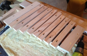The assembled xylophone.