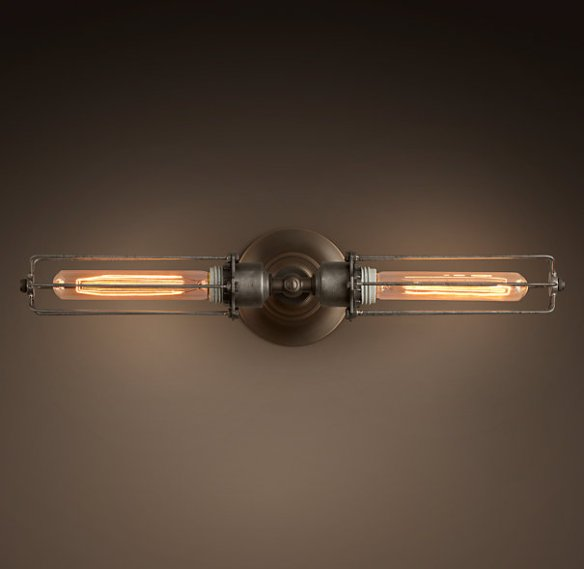 Grand Edison Caged Double Inline Sconce for over the top.