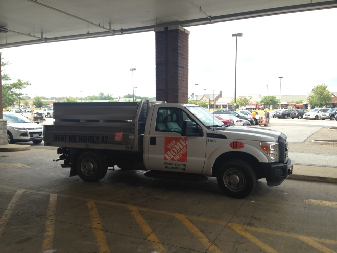 My rental truck with all our drywall loaded and ready to go home.