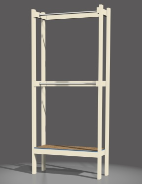 Computer rendering I created of the coat rack design. Two levels for shoes and two for offseason coats and apparel.