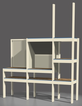 A rendering I made of the workbench I designed. Features shelves, a spray booth and pegboard backed workbench space.
