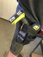 My handy drill holster makes solo jobs where you need two hands, easier.
